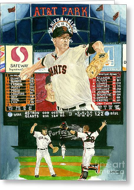 Matt Cain Perfect Night Greeting Card by George  Brooks