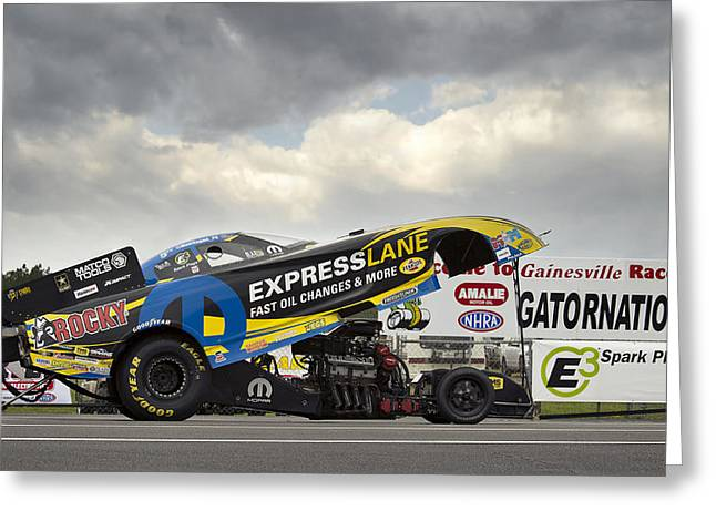 Matt Hagan Top Fuel Greeting Card by Peter Chilelli