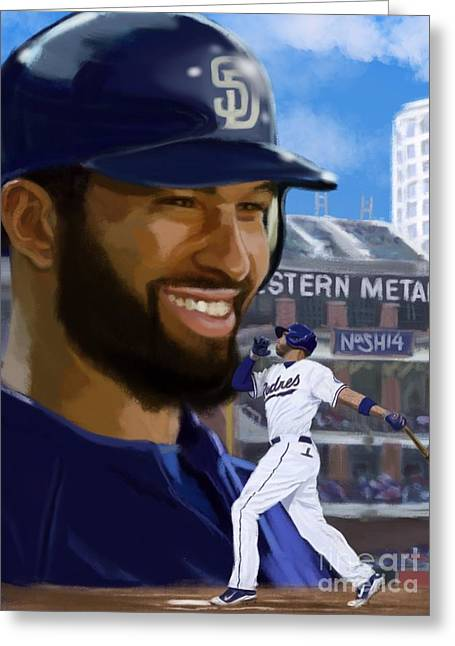 Petco Park Digital Art Greeting Cards - Matt Kemp Greeting Card by Jeremy Nash