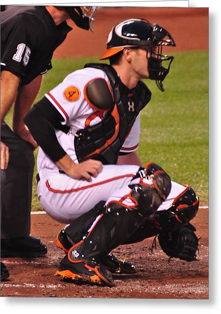 Matt Wieters Greeting Card by Darin Bokeno