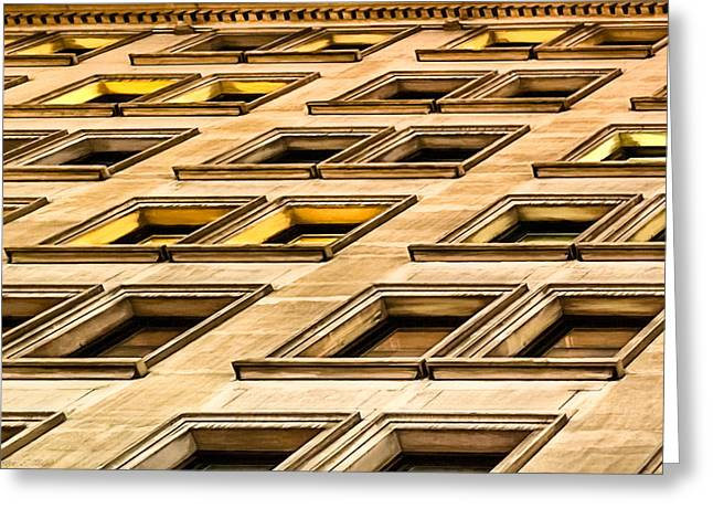 Geometric Artwork Greeting Cards - Matter of Perspective - Architecture of Manhattan Greeting Card by Mark E Tisdale