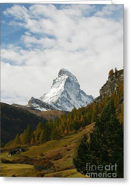 Switzerland Photographs Greeting Cards - Matterhorn in the Fall Greeting Card by Stan and Anne Foster