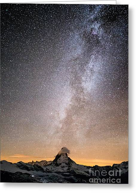 Swiss Photographs Greeting Cards - Matterhorn with milkyway Greeting Card by Peter Wey
