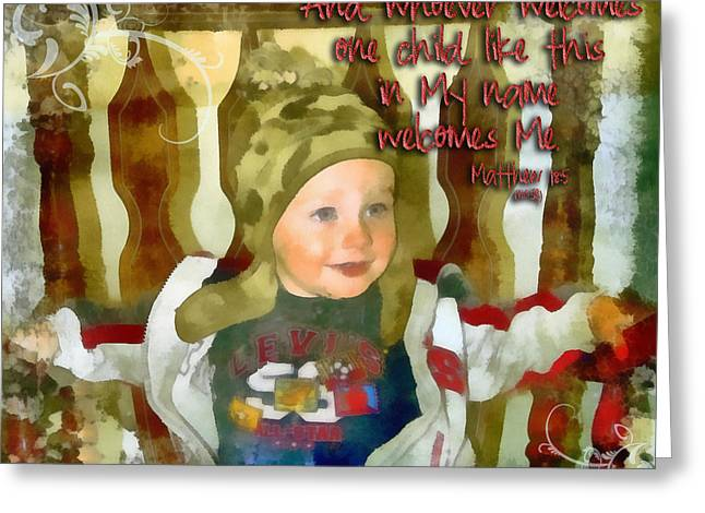 Smiling Jesus Digital Greeting Cards - Matthew 18 5 Greeting Card by Michelle Greene Wheeler