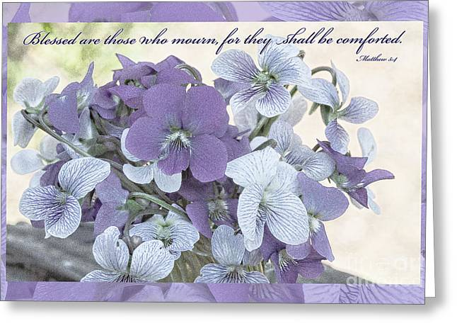 Color Enhanced Greeting Cards - Matthew 5-4 Greeting Card by Diane Macdonald