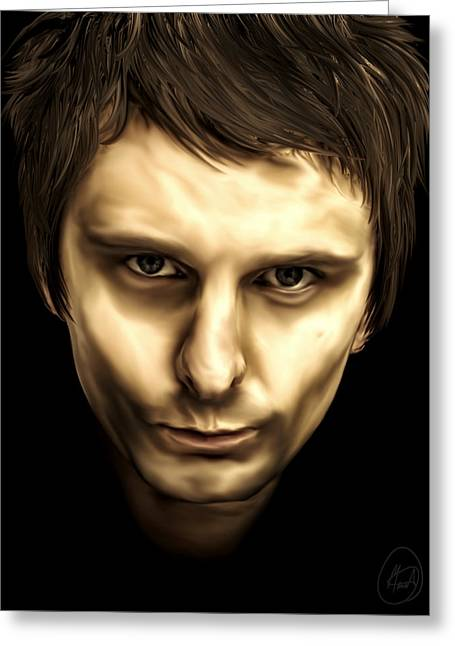 British Celebrities Greeting Cards - Matthew Bellamy Greeting Card by Mario Aguilar