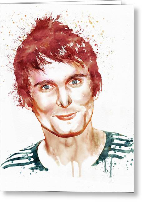 British Celebrities Mixed Media Greeting Cards - Matthew Bellamy watercolor Greeting Card by Marian Voicu