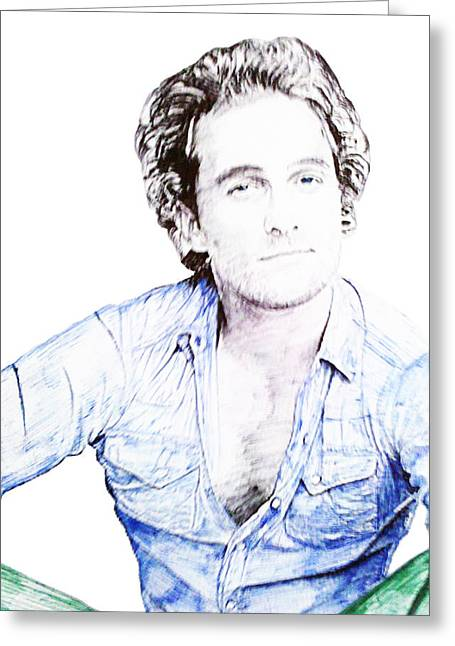Awesome Drawings Greeting Cards - Matthew McConaughey Greeting Card by Benjamin McDaniel