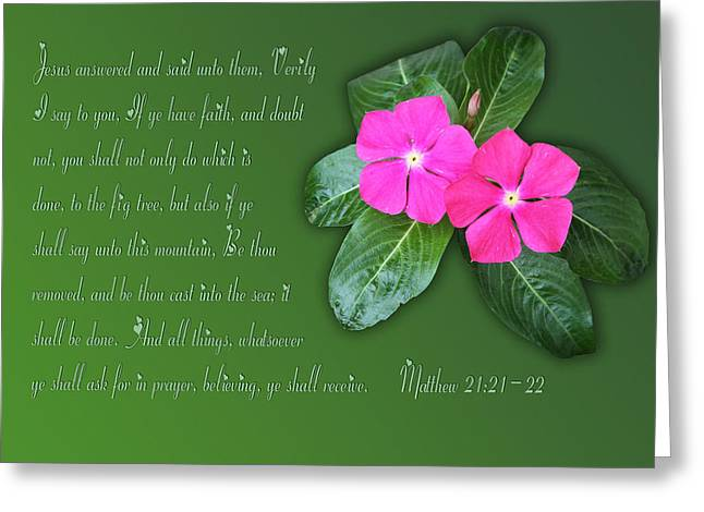 Scripture Cards Greeting Cards - Matthew Twenty One Pink Impatients Greeting Card by Linda Phelps