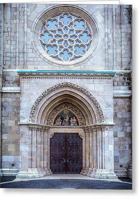 Matthias Church Rose Window And Portal Greeting Card by Joan Carroll