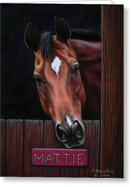 Mattie - Horse Portrait Greeting Card by Yvonne Hazelton