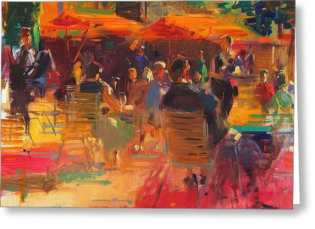 Al Fresco Greeting Cards - Maturing Sun  Paris Greeting Card by Peter Graham