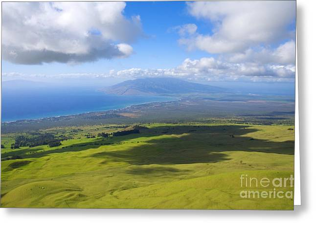 Pastureland Greeting Cards - Maui Aerial Greeting Card by Ron Dahlquist - Printscapes