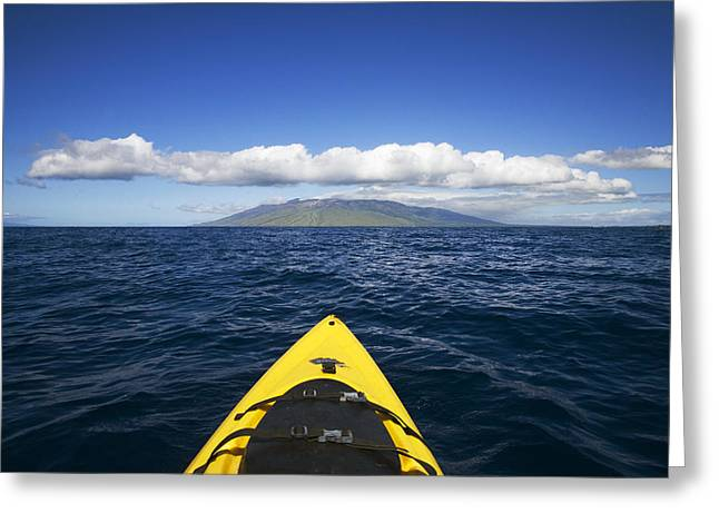 Athletic Photo Greeting Cards - Maui, Kayaker Greeting Card by Ron Dahlquist - Printscapes
