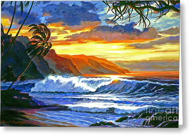 ; Maui Paintings Greeting Cards - Maui Magic Greeting Card by David Lloyd Glover