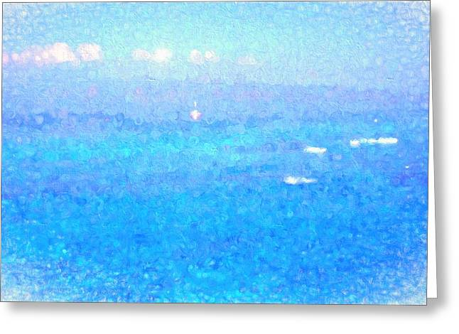 Blue Sailboats Greeting Cards - Maui Memories Greeting Card by Kathy Bassett