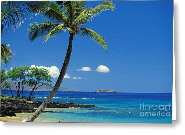 Maui, View From Makena Greeting Card by Ron Dahlquist - Printscapes