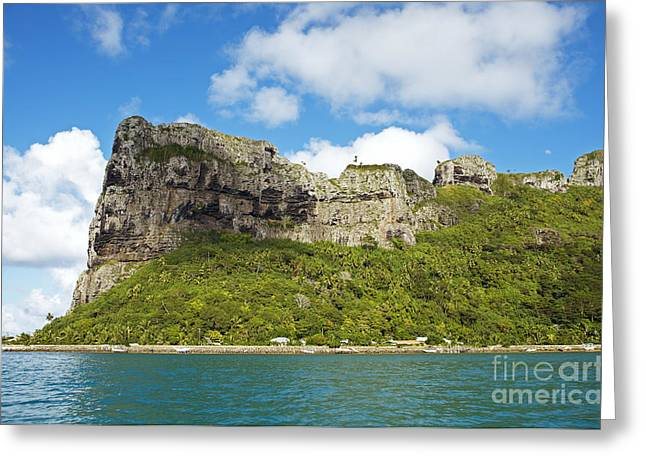 French Open Greeting Cards - Maupiti Island Cliff Greeting Card by Kyle Rothenborg - Printscapes