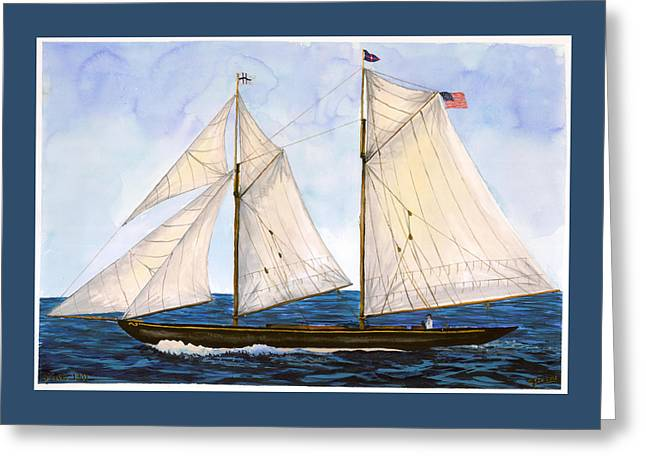 Schooner Paintings Greeting Cards - Mavis 1901 Greeting Card by Cindy Hitchcock