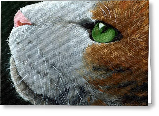 Linda Apple Greeting Cards - Max - neighbor cat painting Greeting Card by Linda Apple