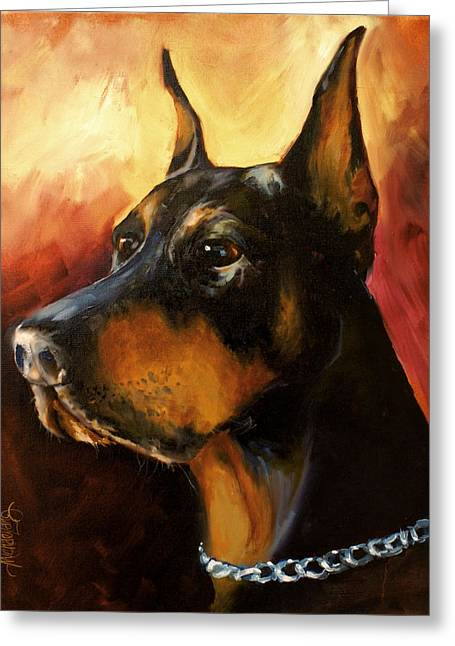 Doberman Pinscher Greeting Cards - Max Greeting Card by Michael Lang