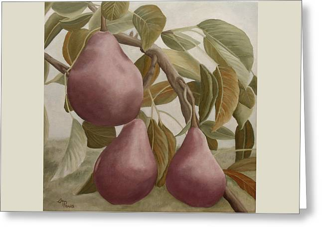 Max Red Bartlett Pears Greeting Card by Angeles M Pomata
