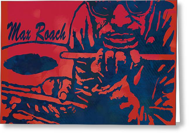Ellington Greeting Cards - Max Roach pop  stylised art sketch poster Greeting Card by Kim Wang