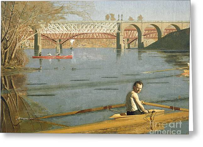 Sculling Greeting Cards - Max Schmitt in a Single Scull Greeting Card by Thomas Eakins