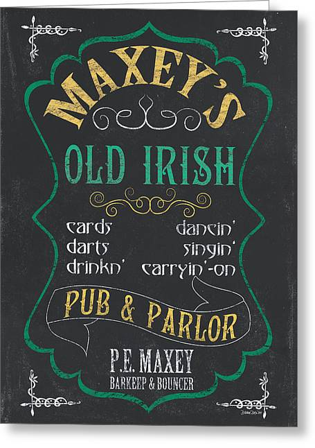 Barrel Mixed Media Greeting Cards - Maxeys Old Irish Pub Greeting Card by Debbie DeWitt