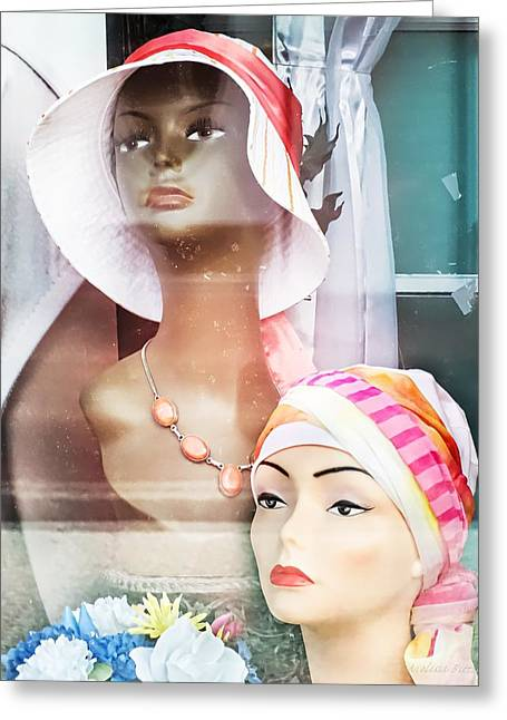 Maxine And Vivian Window Display Mannequins Greeting Card by Melissa Bittinger