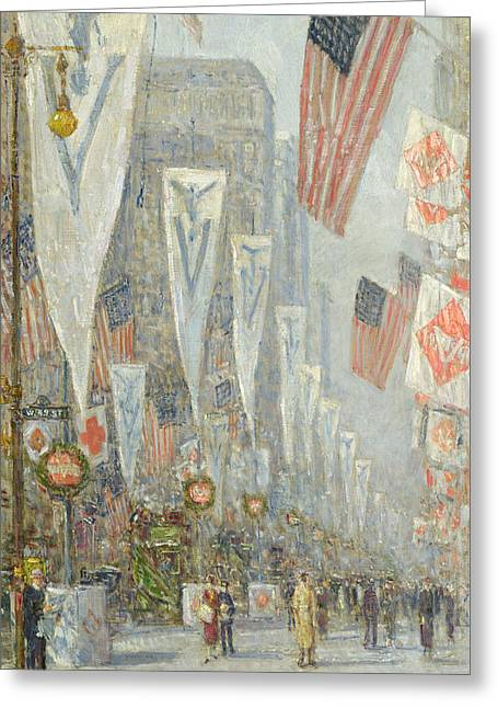 May Morning Greeting Cards - May 1919, 930 AM Greeting Card by Childe Hassam