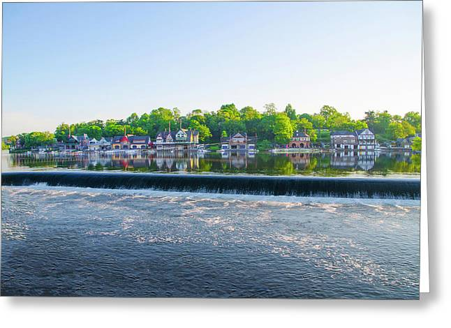 May Along The Schuylkill River - Boathouse Row Greeting Card by Bill Cannon