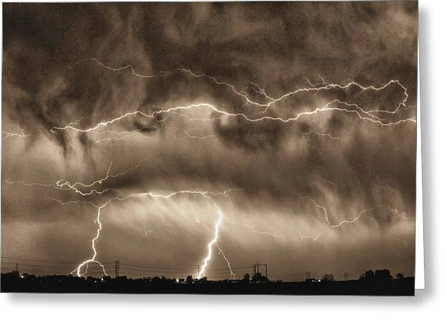 Lightning Strike Greeting Cards - May Showers - Lightning Thunderstorm Sepia HDR Greeting Card by James BO  Insogna