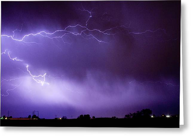Lightning Strike Greeting Cards - May Showers 2 in Color - Lightning Thunderstorm 5-10-11 Boulder Greeting Card by James BO  Insogna