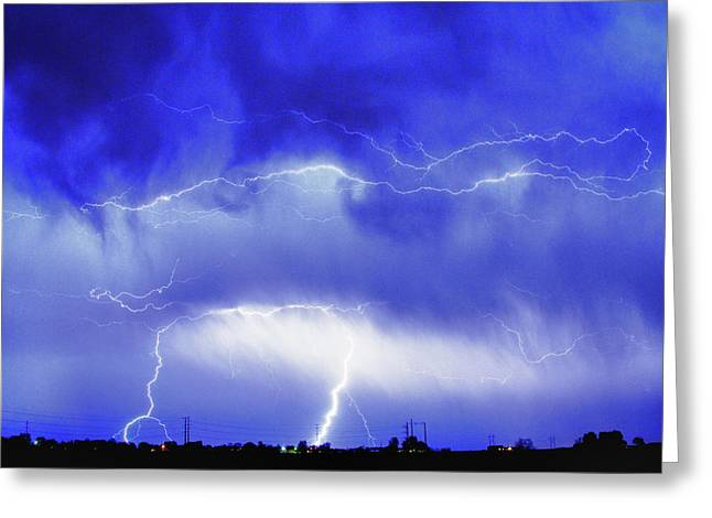 Striking Images Photographs Greeting Cards - May Showers - Lightning Thunderstorm 5-10-2011 HDR Greeting Card by James BO  Insogna