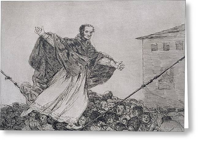 Political Drawings Greeting Cards - May the cord break Greeting Card by Goya