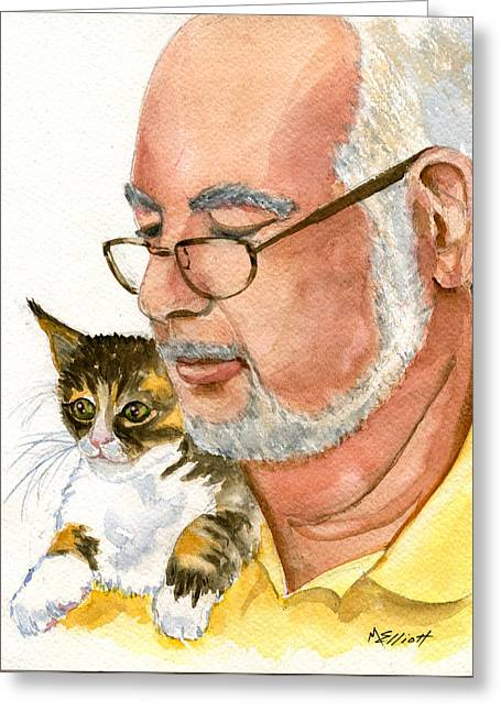 Maya Loves Her Papa Greeting Card by Marsha Elliott