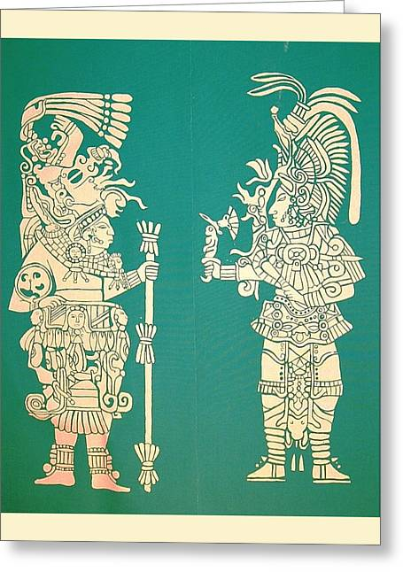 Temple Tapestries - Textiles Greeting Cards - Maya Warriors Greeting Card by William Streett