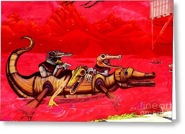 Canoe Greeting Cards - Mayan Crocodiles--Wynwood Greeting Card by Rene Triay Photography