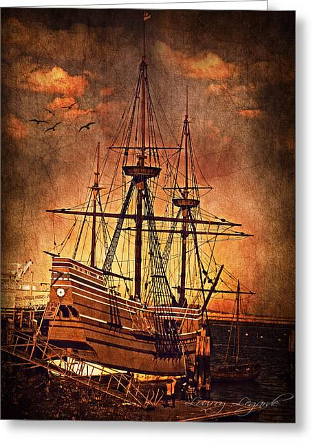 Old Boat Greeting Cards - Mayflower II Greeting Card by Lourry Legarde