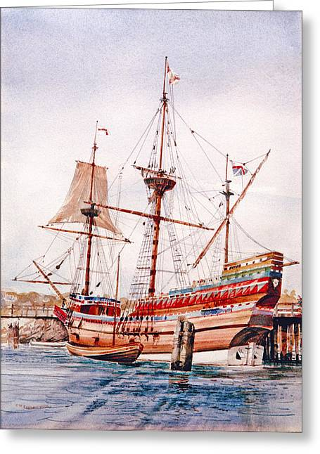 Plymouth Harbor Greeting Cards - Mayflower II  Greeting Card by P Anthony Visco