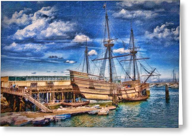 Historic Ship Greeting Cards - Mayflower Ship Greeting Card by Gina Cormier