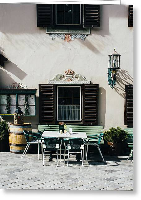 Mayrhofen Restaurant Exterior Greeting Card by Pati Photography