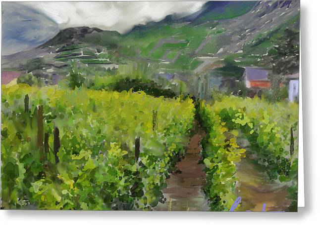 Vineyard Art Mixed Media Greeting Cards - Mayschoss  Greeting Card by T Boyle Dera