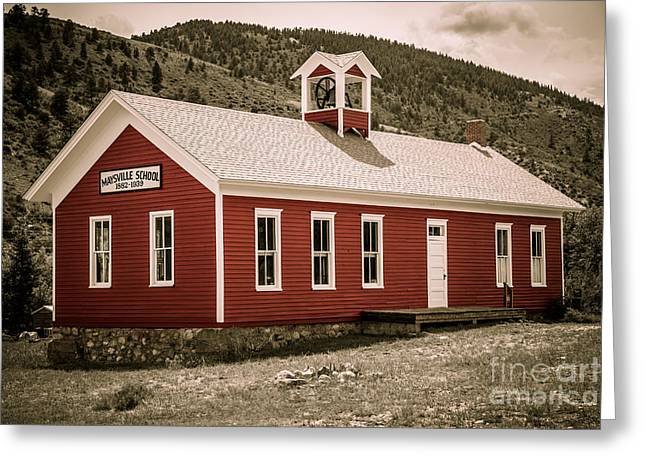 Red School House Greeting Cards - Maysville School Greeting Card by Lynn Sprowl