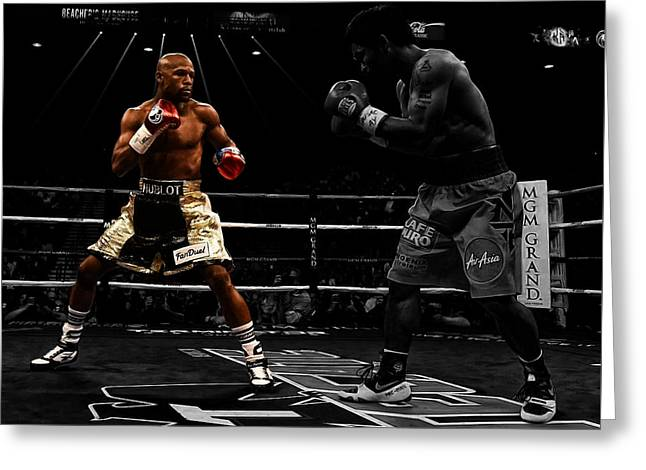 Espy Award Greeting Cards - Mayweather and Pacquiao Greeting Card by Brian Reaves