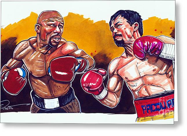Pacman Drawings Greeting Cards - Mayweather Pacquiao Fight Greeting Card by Dave Olsen