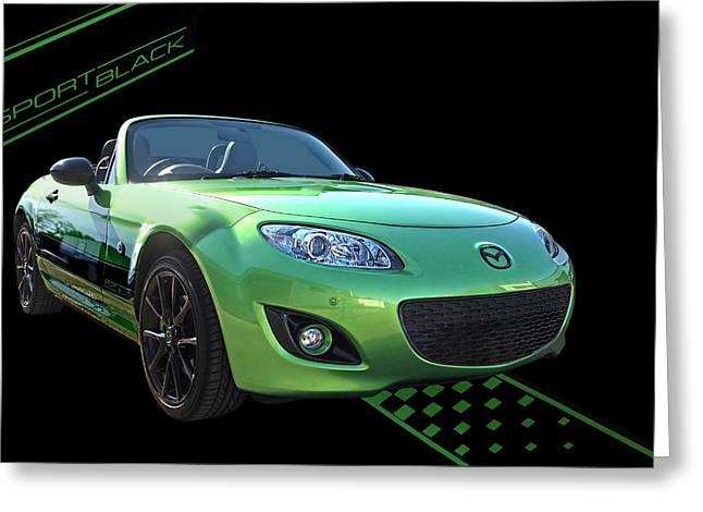 Mazda Greeting Cards - Mazda MX-5 Sport Black Greeting Card by Gill Billington