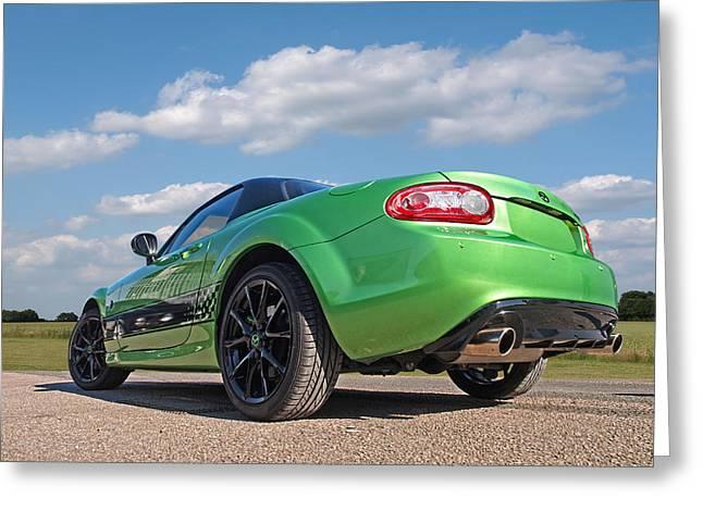 Mazda Greeting Cards - Mazda MX-5 Low Down Rear Greeting Card by Gill Billington