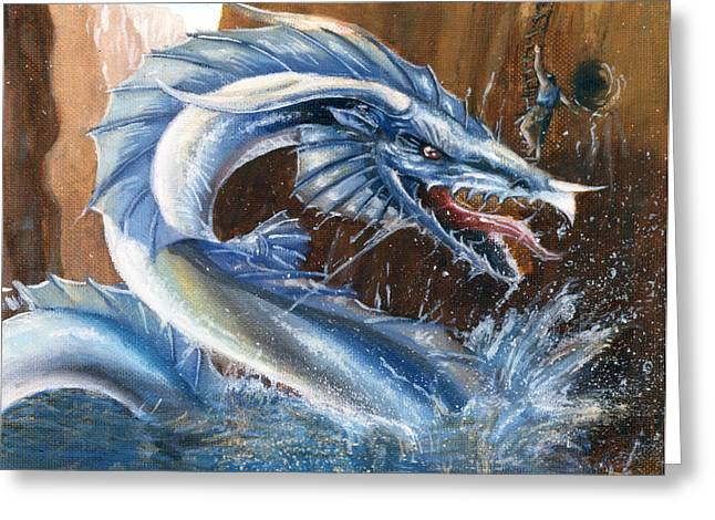 Dungeons Greeting Cards - Maze Dragon Greeting Card by Bryon Wackwitz